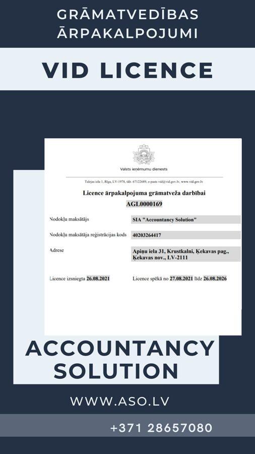 Grāmatvedības pakalpojuma sniegšanas licence VID licence grāmatveža darbībai